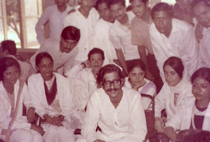 Rashid Ahmed Khan, a prominent leader of the left-wing National Students Federation (NSF, surrounded by supporters at Karachi's Dow Medical College soon after an NSF-led protest movement forced Ayub Khan to resign  in 1969.