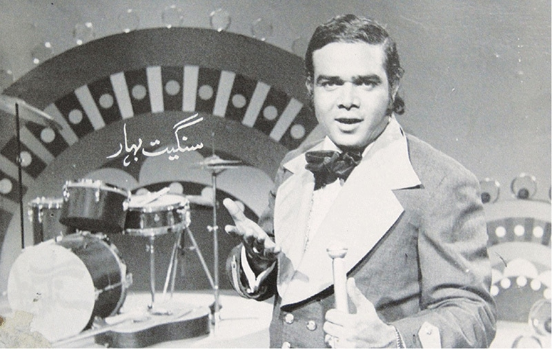 The first in line: Pakistan's first mainstream pop star, Ahmed Rushdi, performing on Pakistan Television (PTV) in 1970.