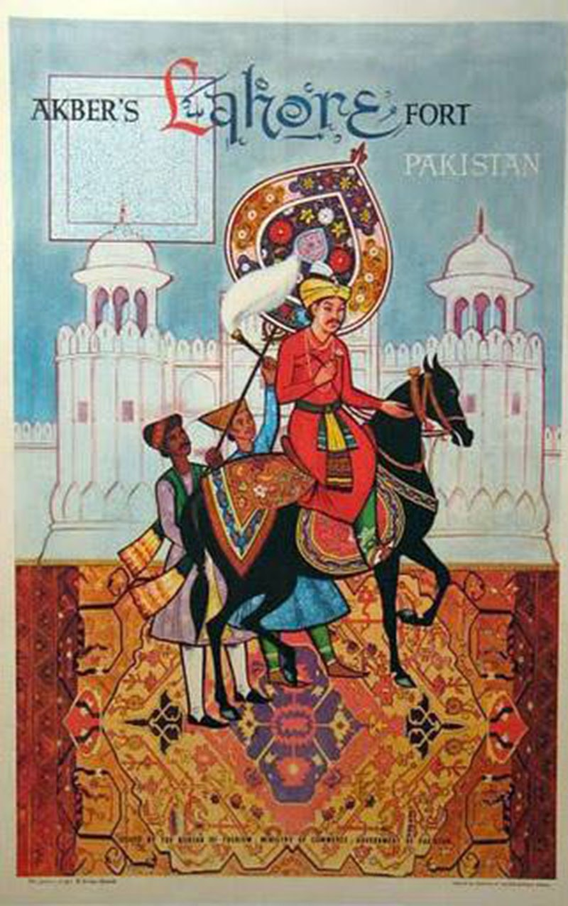 Akbar lives: A vibrant 1973 poster printed by the Pakistan Ministry of Tourism to attract tourism to the city of Lahore.