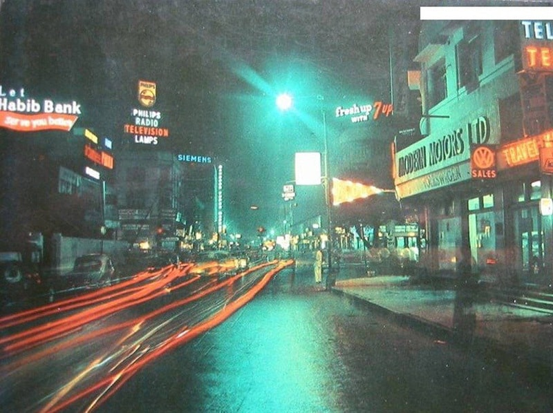Nightlife: Victoria Road in the Saddar area of Karachi in 1974. Between 1960 and 1977, the area was a famous for its trendy shops, restaurants and bars.