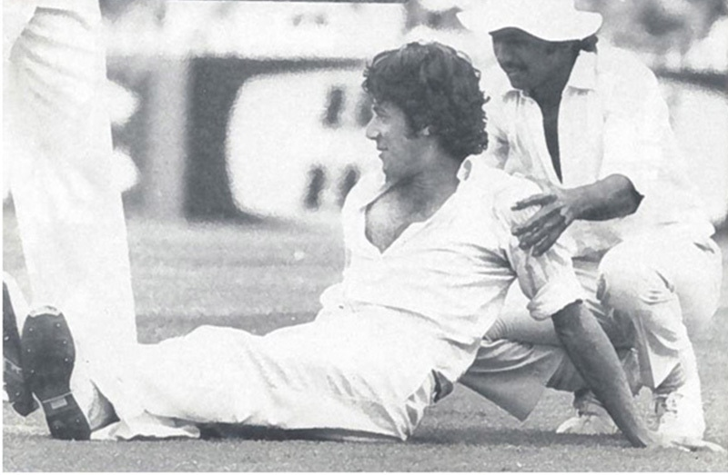 Two's a company: Pakistan fast bowler, Imran Khan, and batsman, Javed Miandad, relax during a Test match against Australia (at Sydney) in 1976. Imran picked up 12 wickets in the match and helped Pakistan win its first Test on Australian soil. Both Khan and Miandad would become the two leading mainstays of Pakistan cricket across the 1980s.