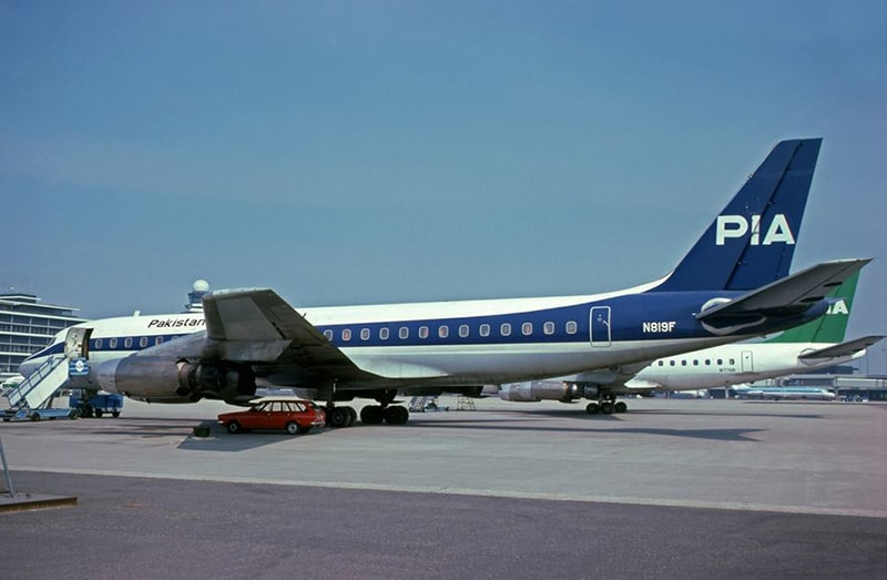 A new blue: A blue PIA aircraft. These limited-edition blue planes were especially commissioned for flights over Europe in 1977. PIA was still one of the leading airlines in the world before its gradual decline from the mid-1980s onwards.