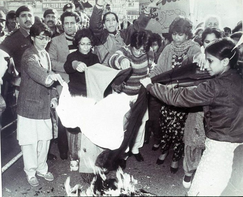 Shaming the dictator: Activists of the Women Action Front (WAF) burn their dupattas (long sacrfs) in Lahore in 1983. The WAF was on the forefront of opposing the Zia regime that it accused of being 'anti-women' and 'regressive.'
