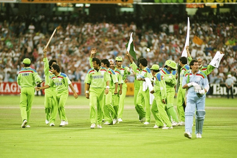 Victory: Pakistan cricket team celebrates victory against England in the final of the 1992 Cricket World Cup.