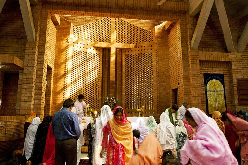 Pakistani Christians praying in a Church in Lahore.