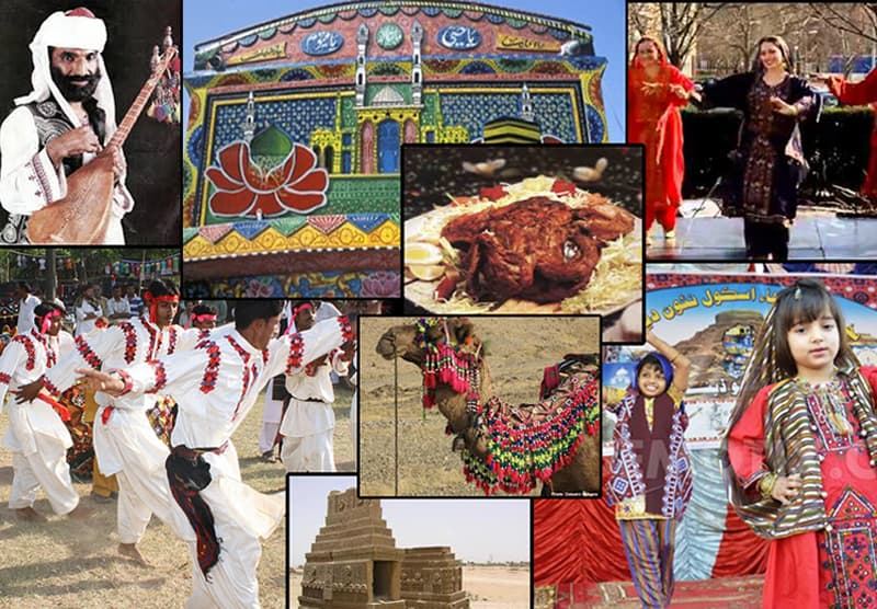 A Pakistan Tourism Ministry's poster depicting many facets of Baloch culture.