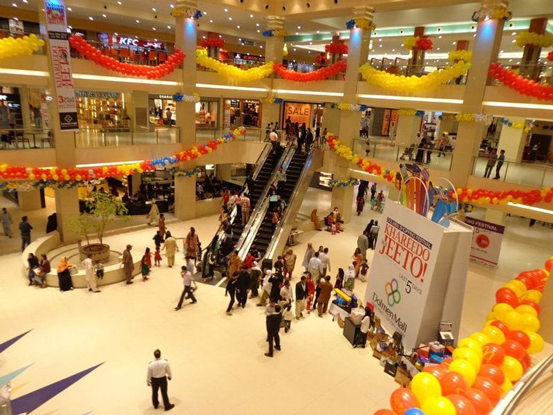 A trendy shopping mall in Karachi.