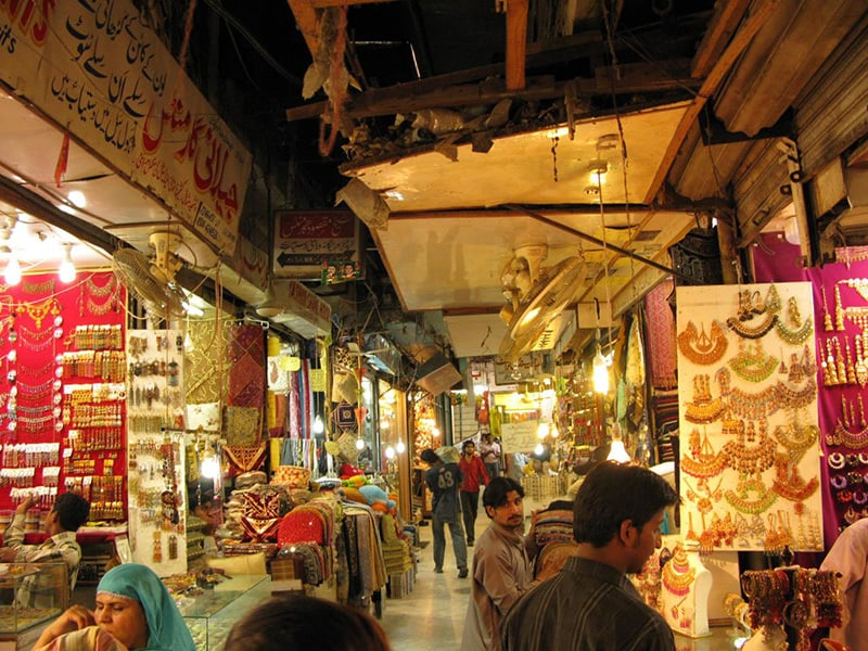 A traditional bazaar in Lahore.