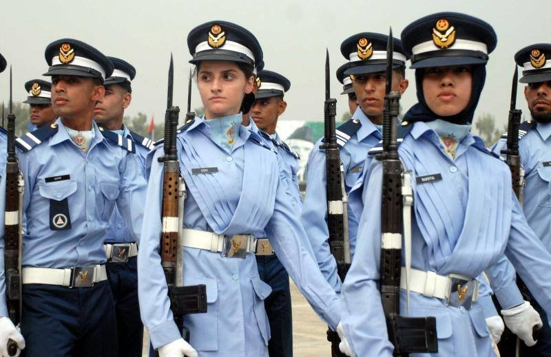 Men and women graduates at a Pakistan Airforce passing out parade.