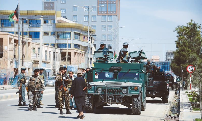 Mazar-i-Sharif: Security personnel arrive at the court complex after the attack.—AFP