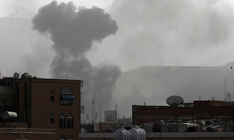 Smoke rises from the Faj Attan Hill area in the Yemeni capital, Sanaa, on April 9, 2015, following an alleged air strike by the Saudi-led alliance on Houthi rebels camps. —AFP