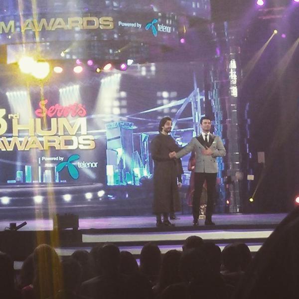 Hamza Ali Abbasi on stage with Fawad Khan. — Photo courtesy: Twitter