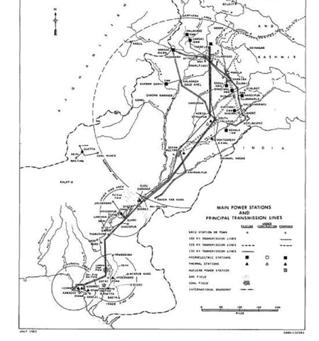 Figure 2: Transmission corridors and power generation plants envisioned in the Lieftinck report, Volume 1.