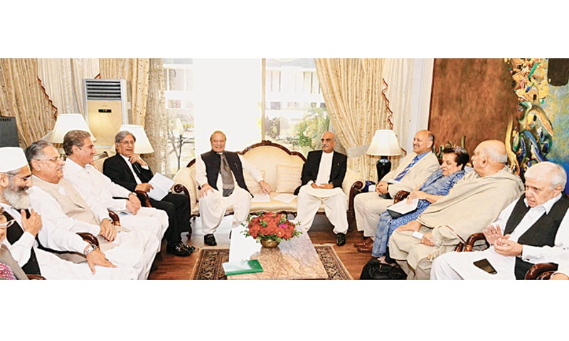Islamabad: Prime Minister Nawaz Sharif meeting heads of parliamentary parties here on Friday.