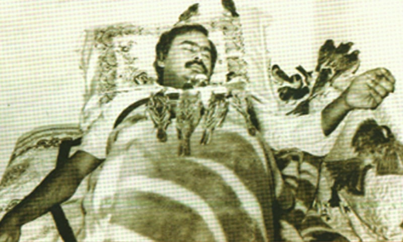Birds perched on a weakened Hussain during his six-day hunger strike in 1990 — Courtesy A Pictorial Biography of Altaf Hussain