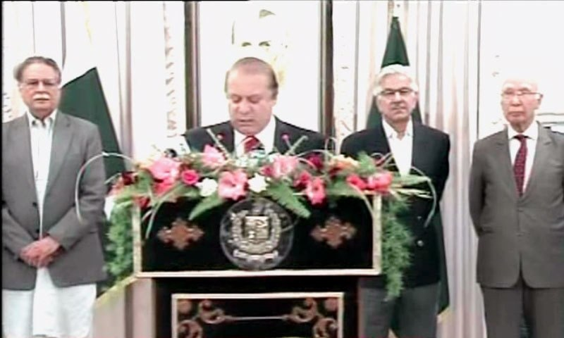 Nawaz Sharif gave a policy statement after doing consultation with Military leadership. -DawnNews screengrab