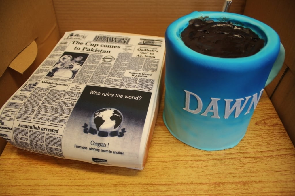 The cake arrived during the World Cup