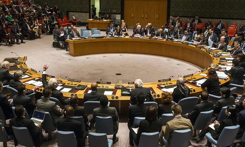 The Russian ambassador to the United Nations Vitaly Churkin abstains from a vote in the United Nations Security Council attempting to halt the escalating conflict in Yemen in New York April 14, 2015. — Reuters