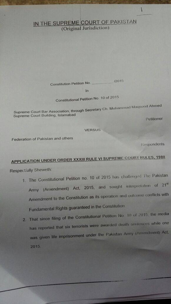 A copy of the petition, page 1. - Photo by reporter