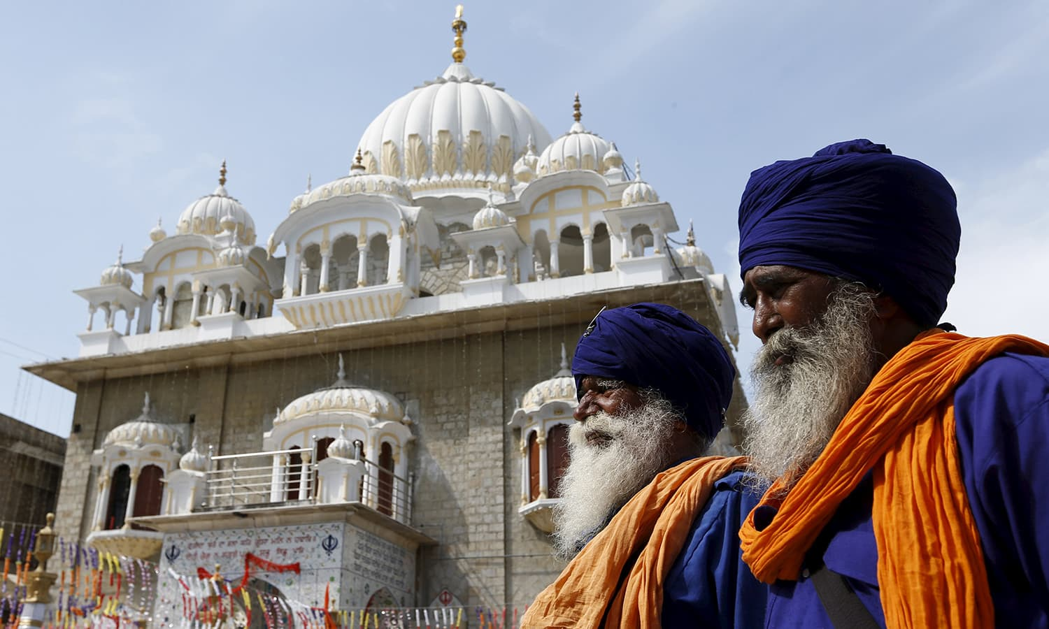 Sikh devotees participate in the Baisakhi festival.— Reuters