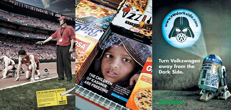 Valuable lessons for marketers (from L to R): UNICEF placed ads in the freezer section of supermarkets to highlight the plight of Kashmiri children; Amnesty based its campaign on the Beijing Olympics to show China's poor human rights record; and Greenpeace turned VW's record breaking Darth Vader idea on its head to pinpoint environmental concerns.