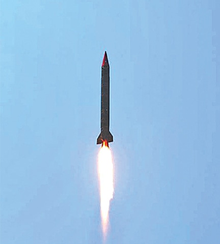 NUCLEAR-CAPABLE Ghauri missile pictured during the test launch carried out on Wednesday.—APP