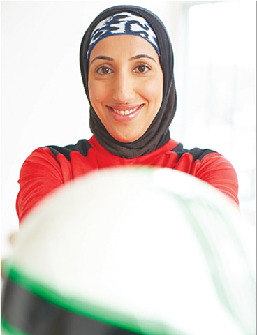 A Canada-based writer, athlete, sports activist focusing on Muslim women in sports, Shireen Ahmed, who is also an advocate and community organiser, mentor and sports coach, works with Youth of Colour on empowerment projects. She also has a blog 'Tales from a hijabi footballer' and tweets @_shireenahmed_