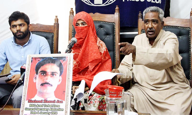 KARACHI: VBMP chairman Mama Qadeer addressing a press conference here on Thursday.—Online
