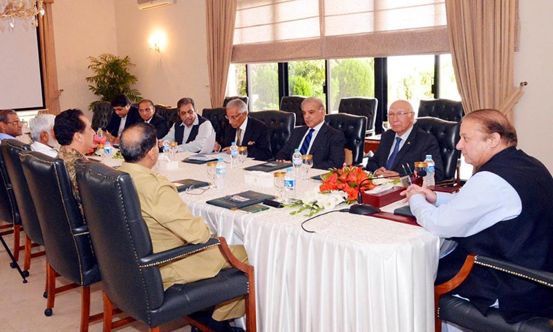 ISLAMABAD: Prime Minister Nawaz Sharif chairing a high-level meeting on Yemen issue at  Prime Minister House.— INP