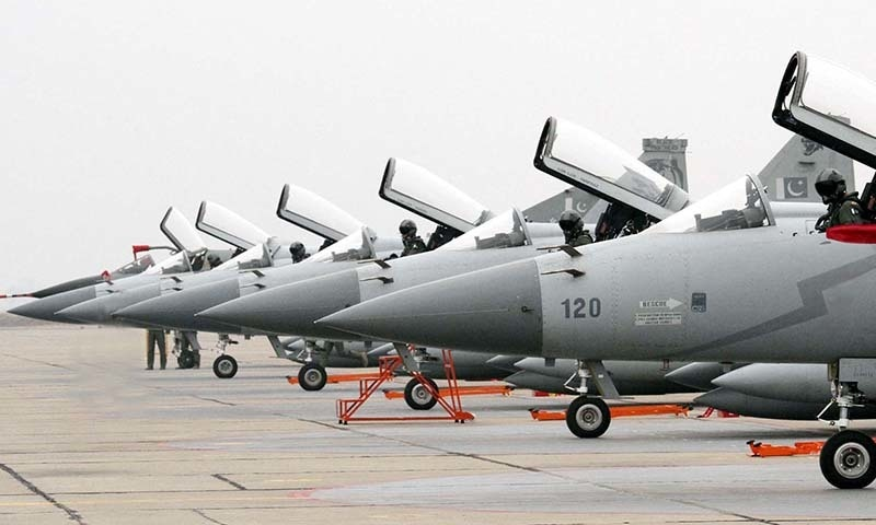 ISLAMABAD, PAKISTAN, JAN 26: A batch of JF-17 Thunder Aircraft being received during  the Induction Ceremony of JF-17 Thunder held in the Combat Commanders School (CCS) of  Pakistan Air Force in Islamabad on Monday, January 26, 2015. (PPI Images).