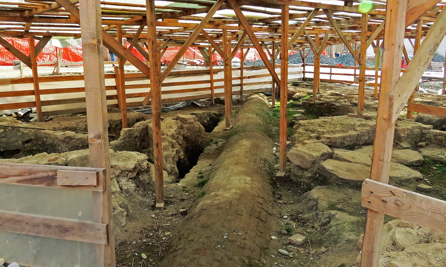 Uncovered area of the Turkish bath discovered under Liberty Square. Photo by Urooj Qureshi