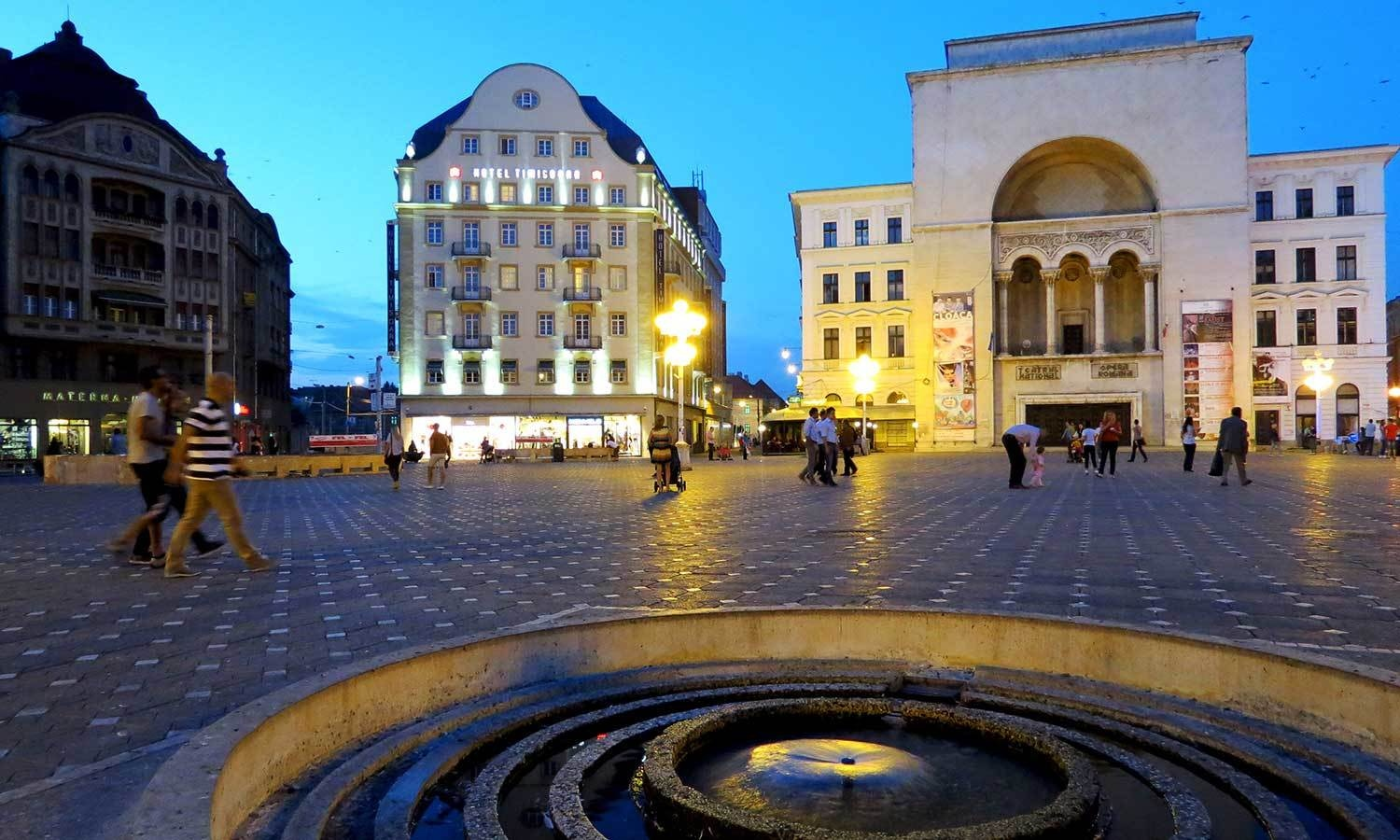 Opera Square in modern-day Timisoara. - Photo by Urooj Qureshi
