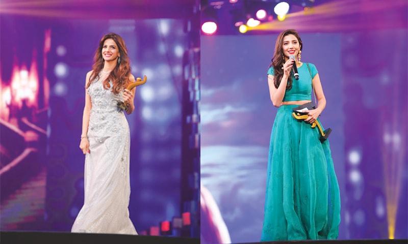 Saba Qamar with her Best Actress — Jury award & Mahira Khan with her Best Actress — Popular award