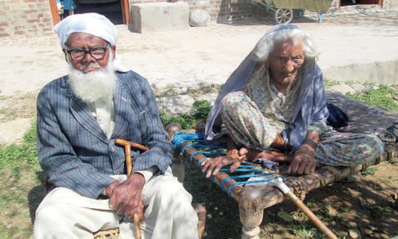 Resham Bee and Haji Nazar Mohammad, the two senior citizens  of the village.
