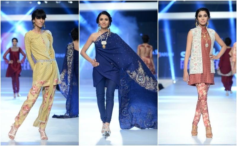 Zara Shahjahan played with trailing one-shoulder tops and waistcoats (R). - Photo: Faisal Farooqui and his team at Dragonfly