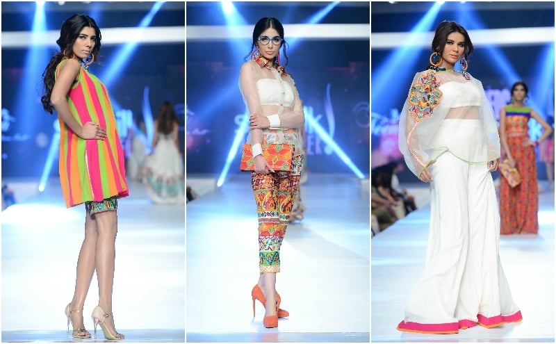 A pleated outfit (R) and other looks from Hina Butt. - Photo: Faisal Farooqui and his team at Dragonfly