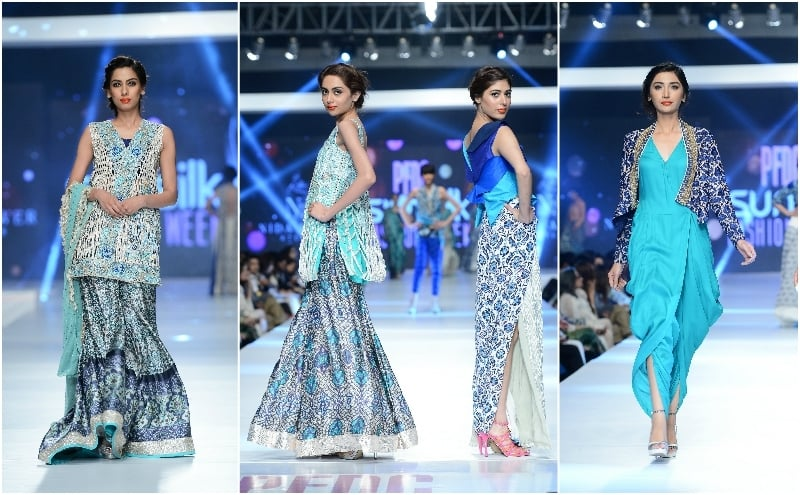 In Nida Azwer's collection, a green jumpsuit (R) stood out. - Photo: Faisal Farooqui and his team at Dragonfly