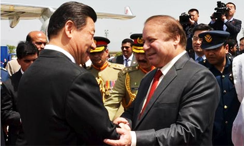 President of China Xi Jinping shakes hands with Prime Minister Nawaz Sharif upon his arrival in Islamabad on April 20, 2015 ─ Reuters