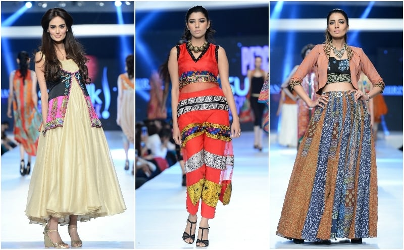 Three looks by Shirin Hasan. We liked the waistcoat (R). - Photo: Faisal Farooqui and his team at Dragonfly