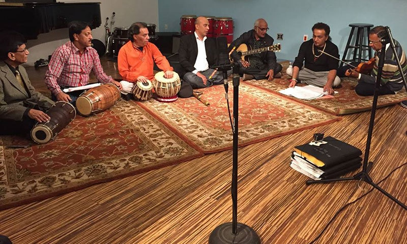 The Sachal ensemble of Sachal Studios in New York for the Song of Lahore premiere at Tribeca Film Festival 2015.— Photo courtesy: SOC's Facebook page