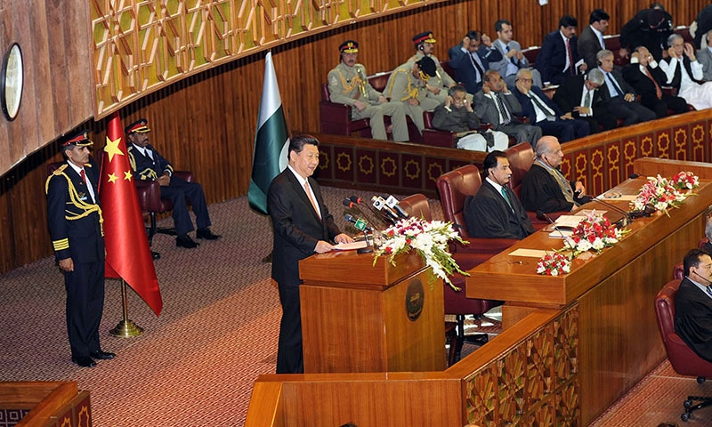 "Chinese President Xi Jinping (C) addresses a joint session of the parliament in Islamabad. Chinese President Xi Jinping said a $46 billion economic corridor offered Pakistan a ""historic development opportunity"", but security fears linger over the project which involves major construction in some highly unstable areas. - AFP photo"