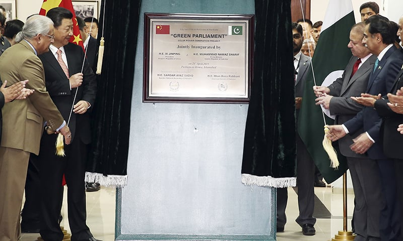 Jinping inaugurated a 1.2MW project for providing electricity to the Parliament building through solar energy. —AP