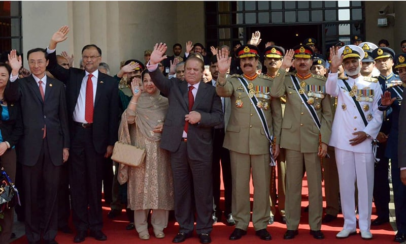 Pakistani delegation waves good-bye to Chinese delegation as they depart from Islamabad. ─ PM House