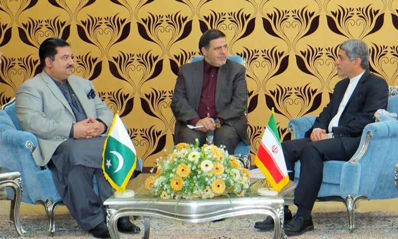 TEHRAN: Commerce Minister Khurram Dastagir in a meeting with Iranian Minister for Finance and Economic Affairs Tayyab Nia on Wednesday.