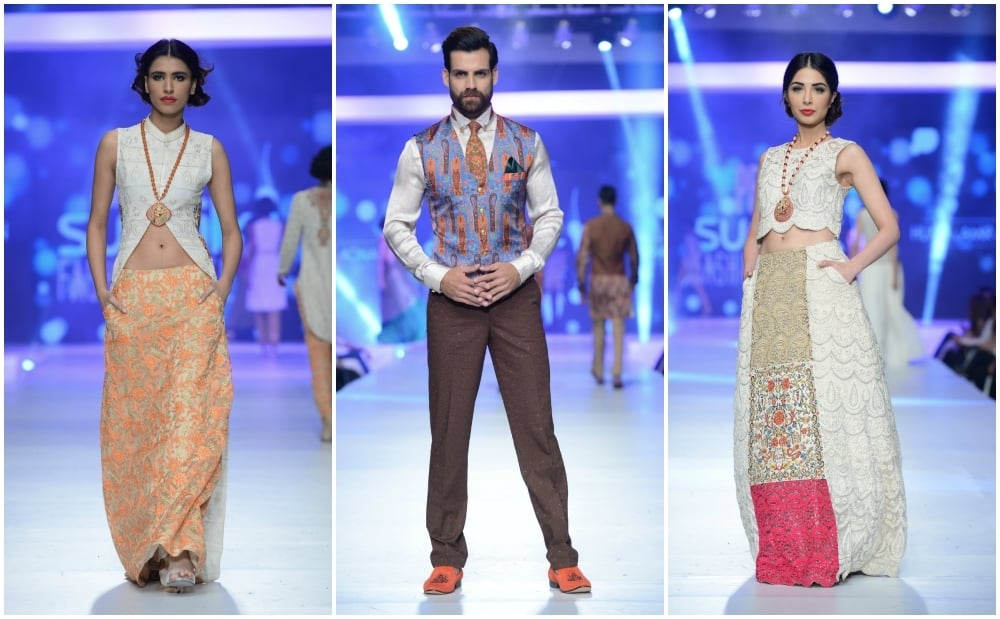 Looks by Huma & Amir Adnan. The tangerine skirt (L) is a winner.— Photo:  Faisal Farooqui and his team at Dragonfly