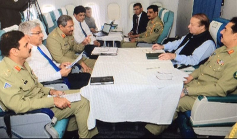 PM Nawaz holds  consultative meeting with his close civil and military aides on the Yemen situation in his special jet. —DawnNews screengrab