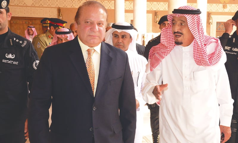 RIYADH: Prime Minister Nawaz Sharif and Saudi King Salman bin Abdulaziz at the Royal Palace here on Thursday.—Picture released by PID