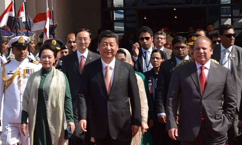 President Xi Jinping is escorted to his plane by Prime Minister Nawaz Sharif. ─ PM Office