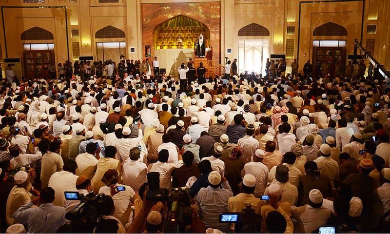 Imam e Kaaba Sheikh Khalid Al Ghamidi delivering the Friday sermon at Grand Jamia Masjid Bahria Town. -ONLINE