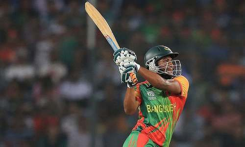 Shakib Al Hasan smashed 57 off 41 balls to take Bangladesh home. — Photo courtesy ICC